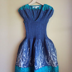 Max Studio blue embroidered dress, size XS